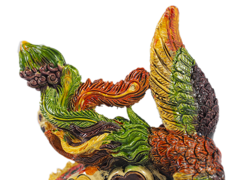 13cm Colour Coiled Dragon Phoenix
