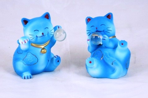 Pair Fortune Cat Maneki Neko Lucky Japanese Blue G330