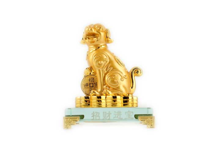 12cm Gold Dog on Plaque - Jin Bao