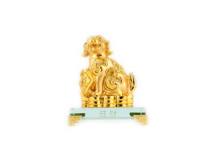 12cm Gold Dog on Plaque - Wang Cai