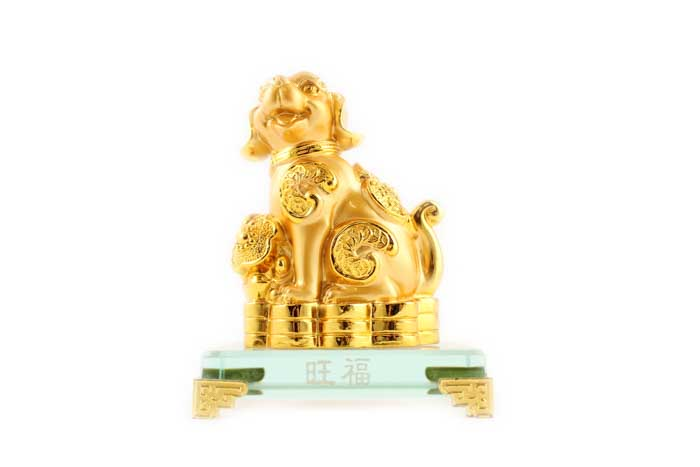 12cm Gold Dog on Plaque - Wang Fu