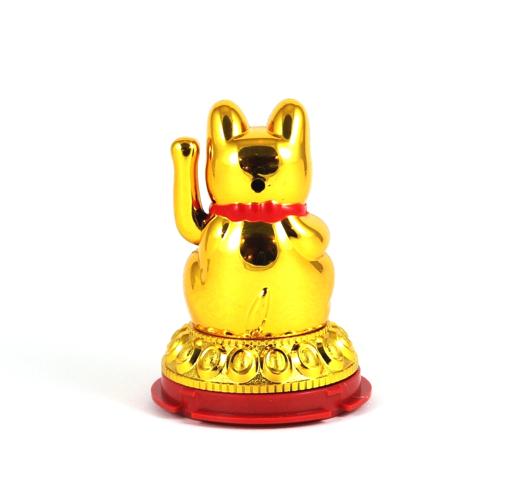 "3"" Solar Maneki Meko Waving Cat (Gold)"