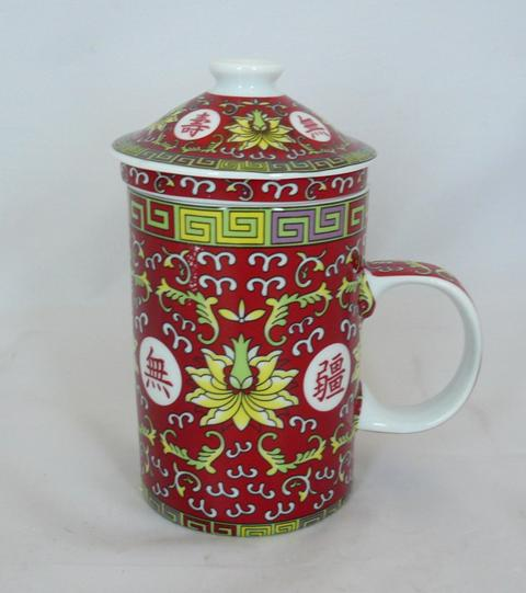Red 10,000 Wishes Three Part Chinese Tea Mug.
