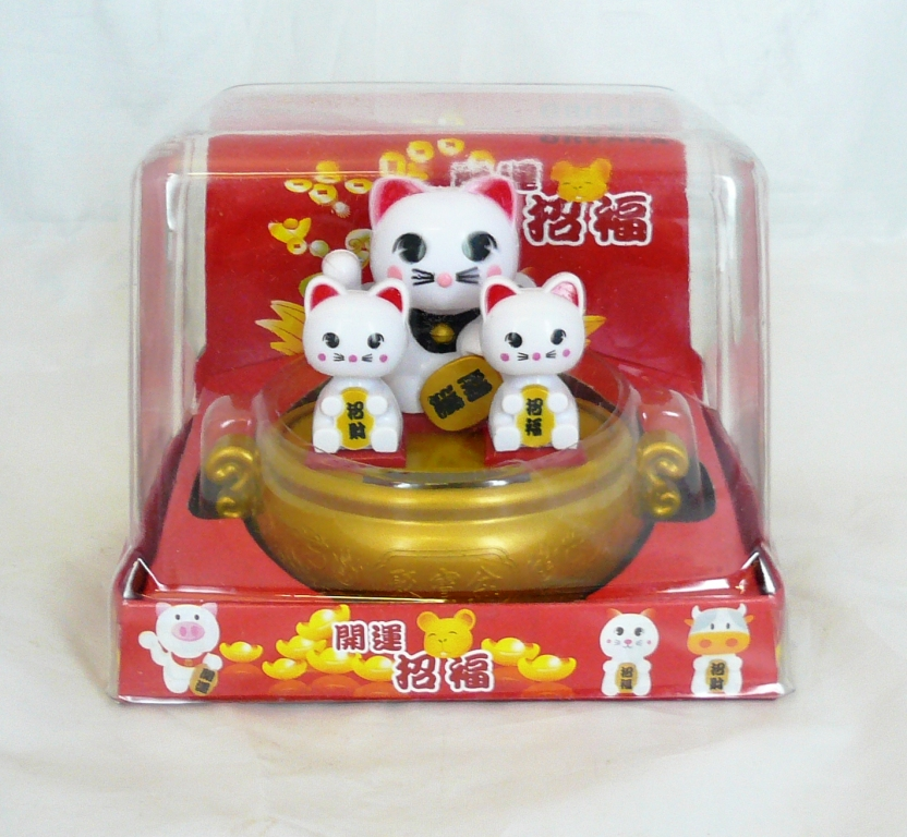 White Three Solar Powered Nodding Cats (Maneki Neko)