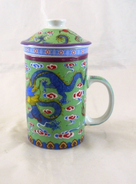 Green Pair Dragon Three Part Chinese Tea Mug