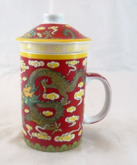 Red Pair Dragon Three Part Chinese Tea Mug.
