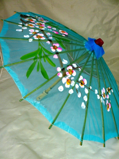 Large Floral Chinese Silk Parasol (Blue)