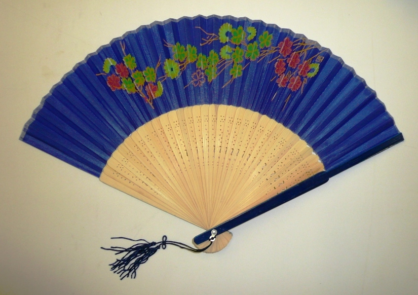 "9"" Blue Colour Fan (Floral)"