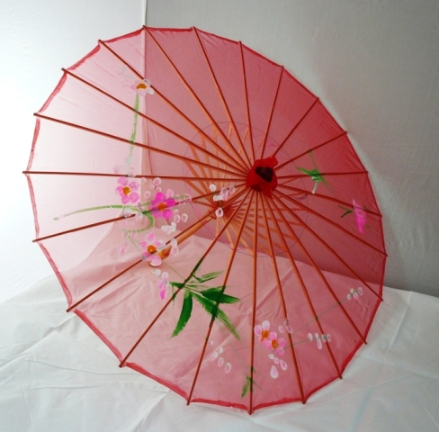 Small Floral Chinese Silk Parasol (Red)