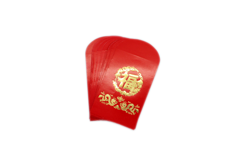 Double Dragon Gold Embossed Red Packet