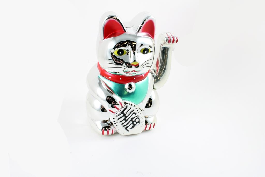 "6"" Beckoning Cat (Silver)"