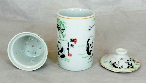 White Panda Three Part Chinese Tea Mug